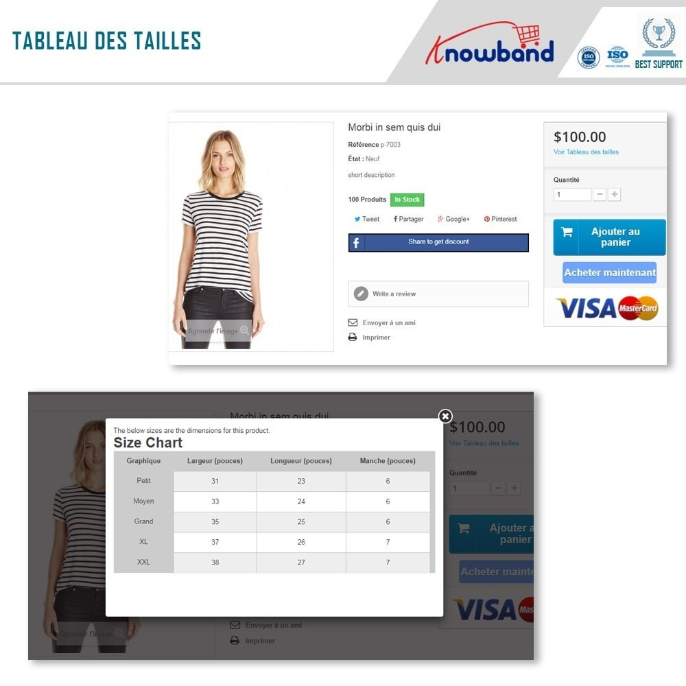 module - Information supplémentaire & Onglet produit - Knowband - Guide des tailles de produit - 2