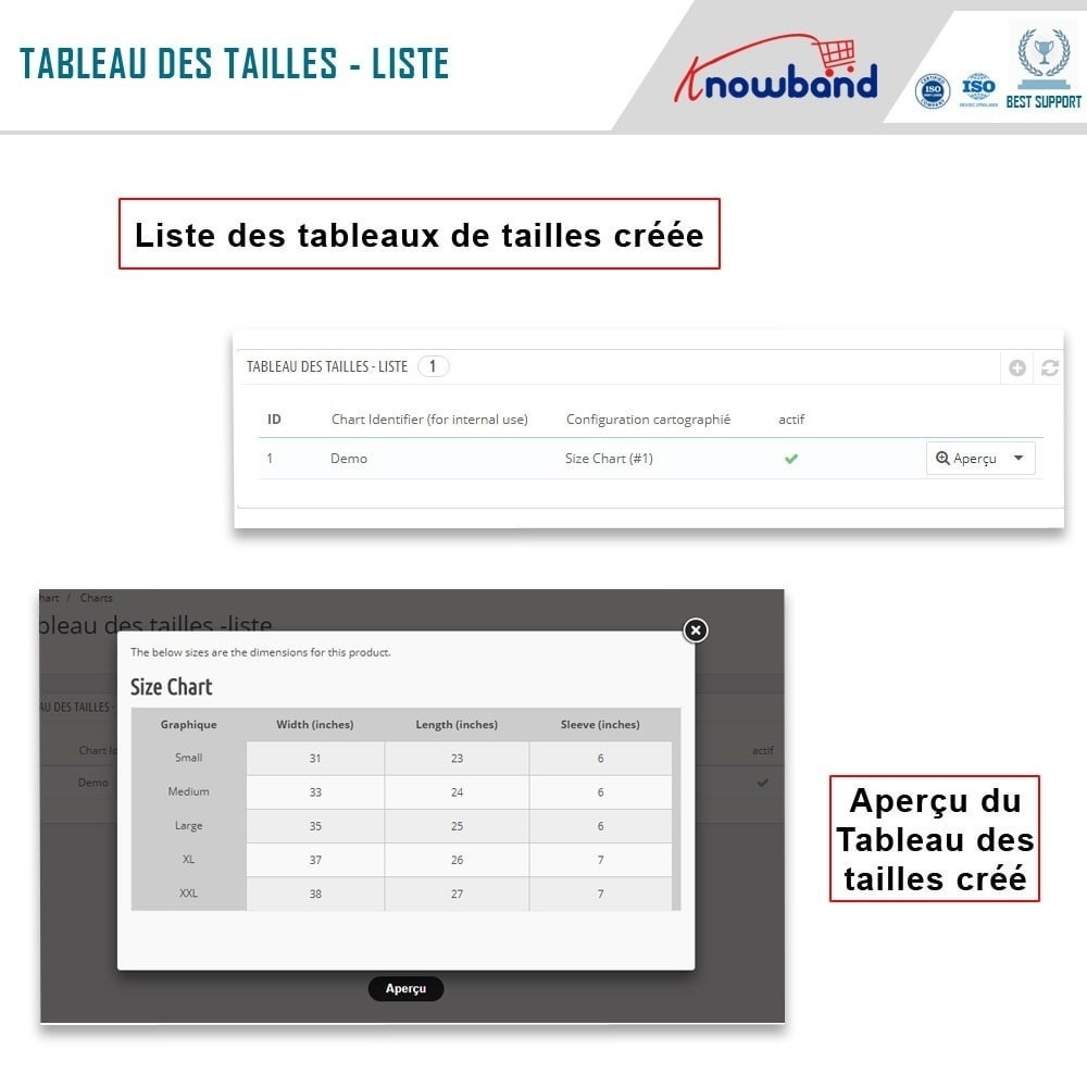 module - Information supplémentaire & Onglet produit - Knowband - Guide des tailles de produit - 5