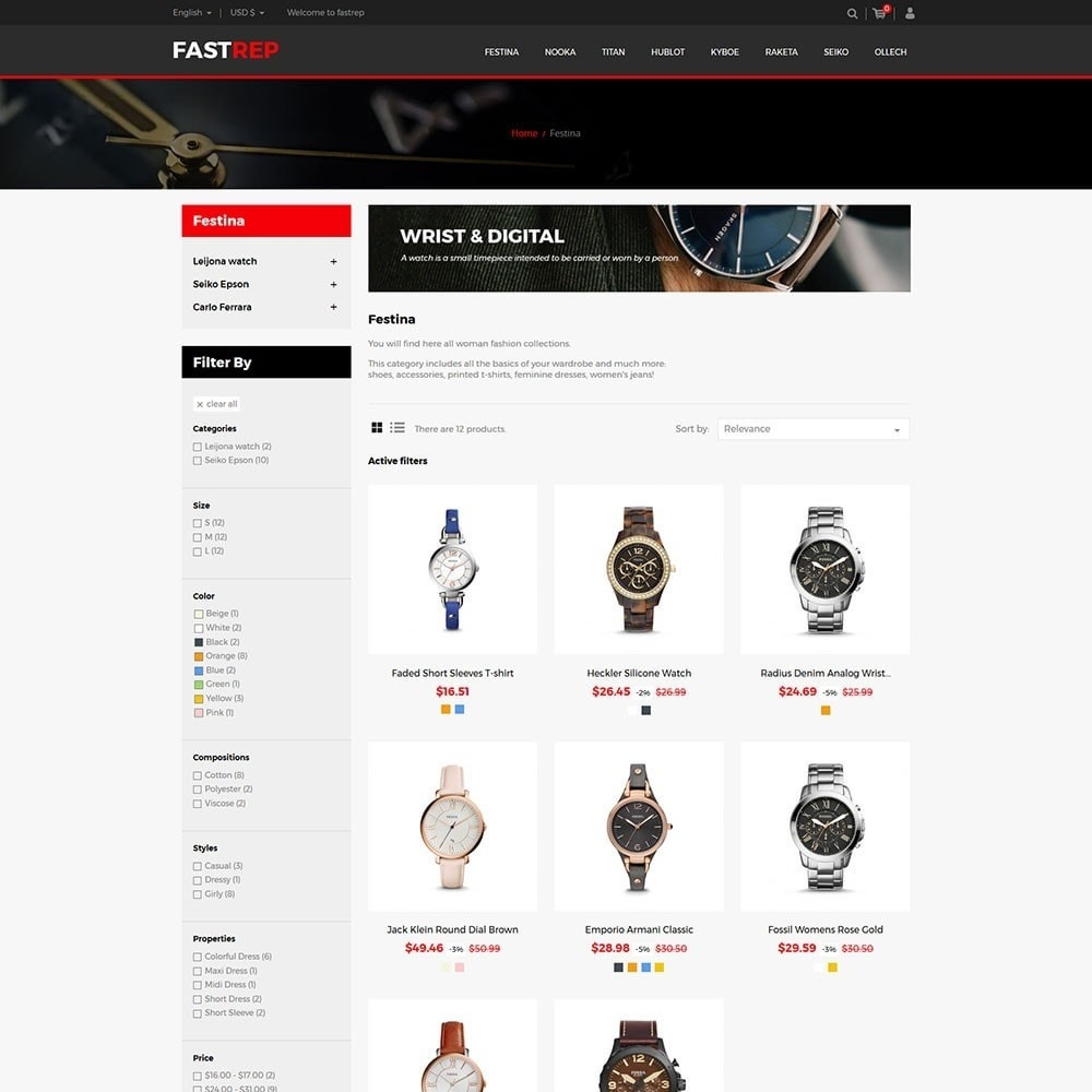 theme - Fashion & Shoes - Fasttrep - Watch Store - 3