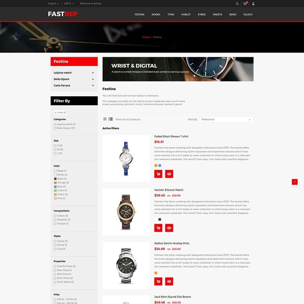 theme - Fashion & Shoes - Fasttrep - Watch Store - 4