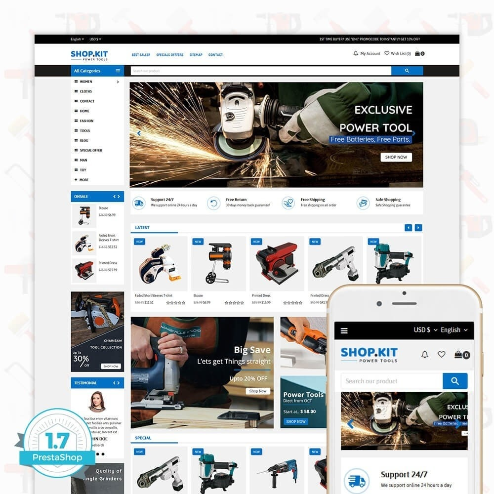 theme - Carros & Motos - Shopkit Power Tools Store - 1