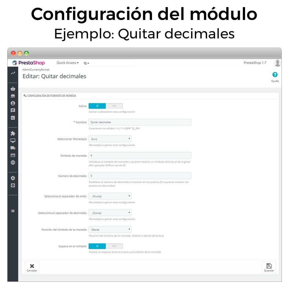 module - Gestión de Precios - Formato de moneda y modificación de decimales - 3