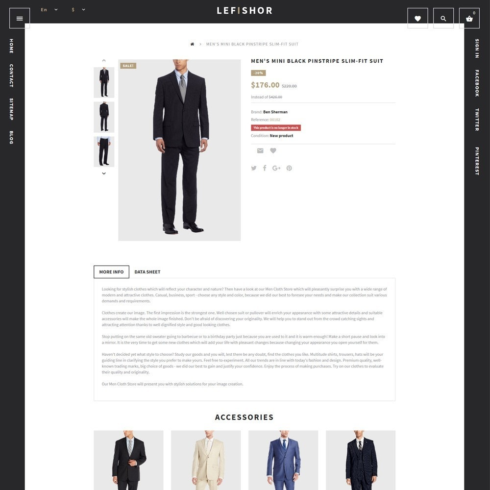 theme - Мода и обувь - Lefishor - PrestaShop шаблон мужской одежды - 3