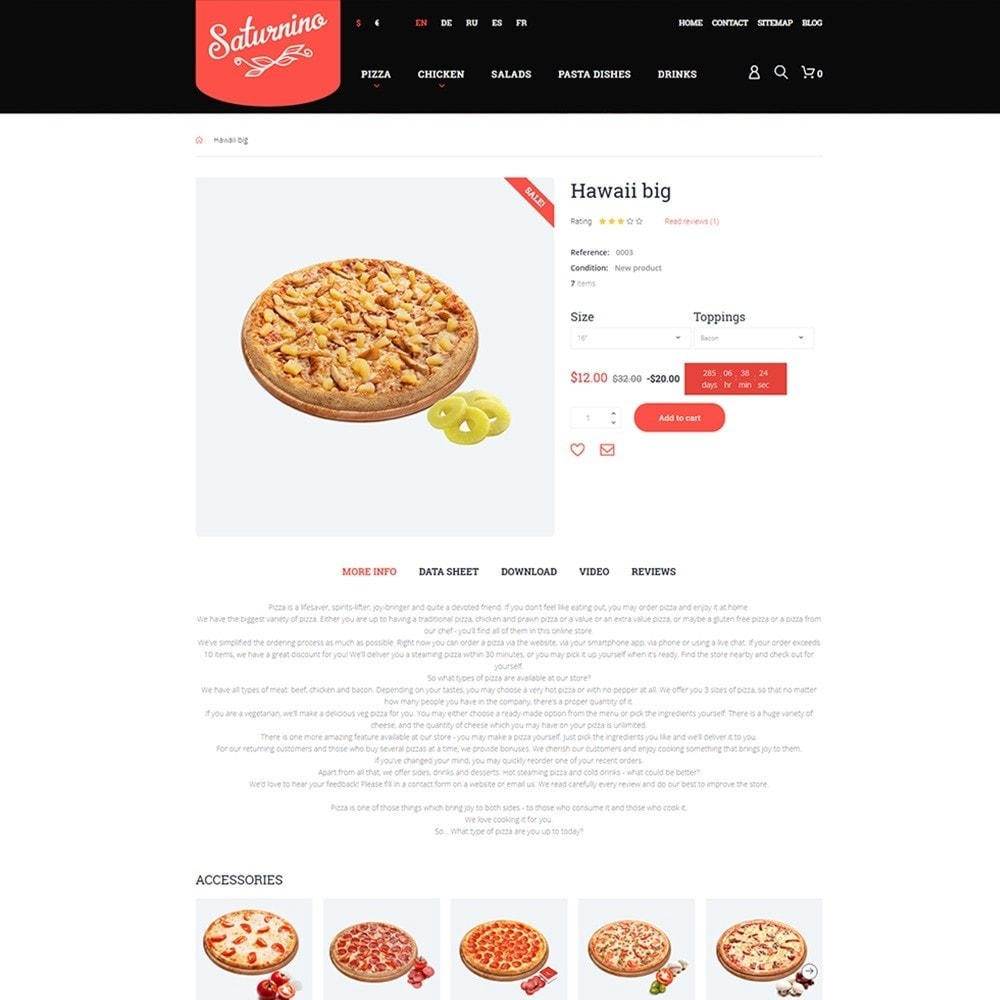 theme - Gastronomía y Restauración - Tema de PrestaShop para Sitio de Pizzerías - 3