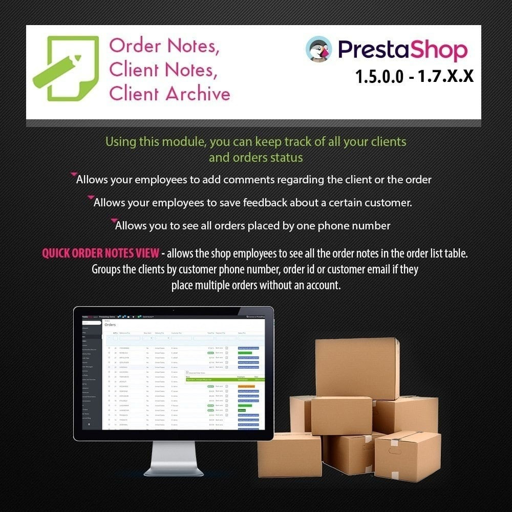 module - Order Management - Order Notes, Client Notes & Sticky Notes - 1