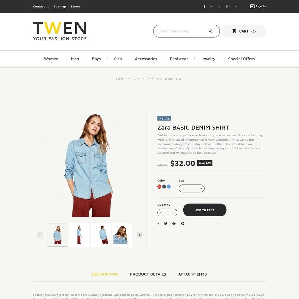 theme - Мода и обувь - Twen - Адаптивный PrestaShop шаблон модной одежды - 4