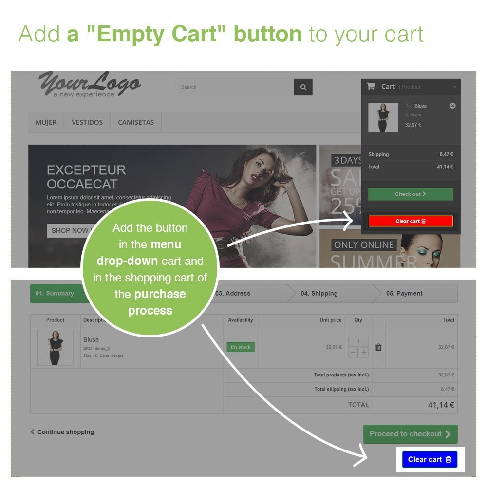 module - Registration & Ordering Process - Empty Cart button – Remove products from the cart - 2