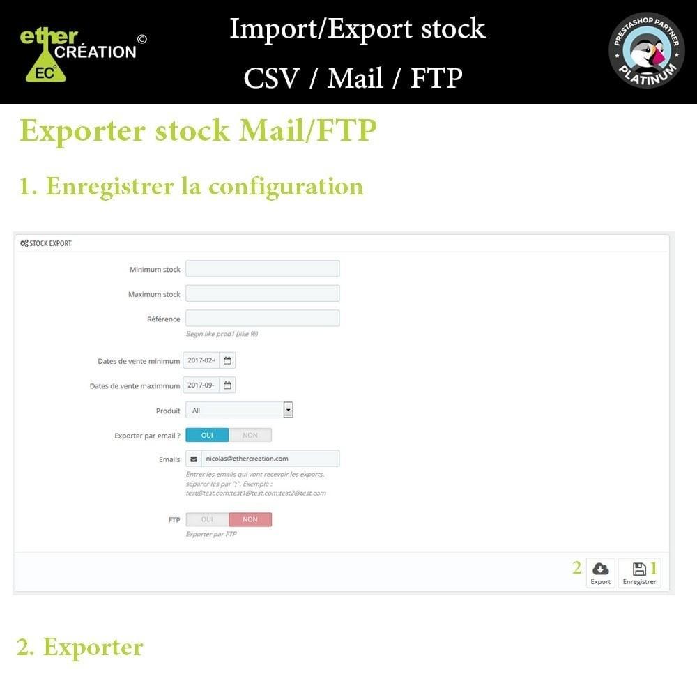 module - Import & Export de données - Import/Export stock produits en masse CSV / Mail / FTP - 2