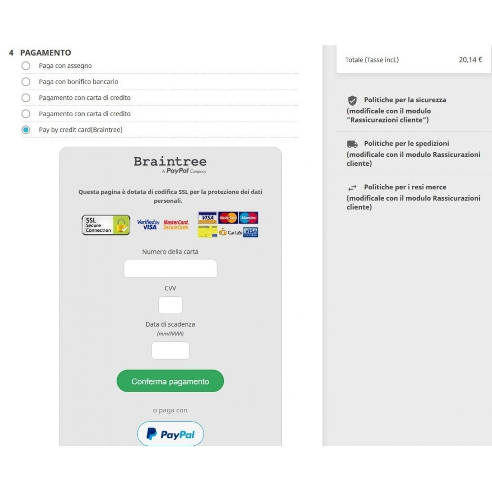 module - Pagamento con Carta di Credito o Wallet - Pagamento Braintree PayPal Company - 3