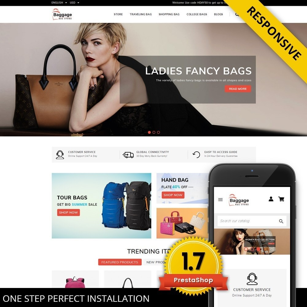 theme - Jewelry & Accessories - Baggage  - Bagstore template - 1