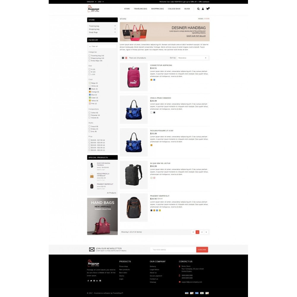 theme - Jewelry & Accessories - Baggage  - Bagstore template - 4
