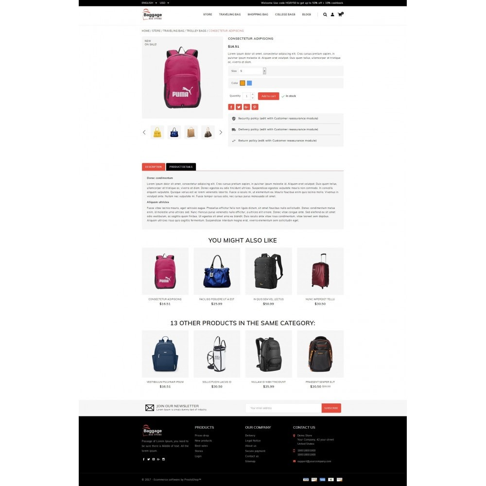 theme - Jewelry & Accessories - Baggage  - Bagstore template - 5