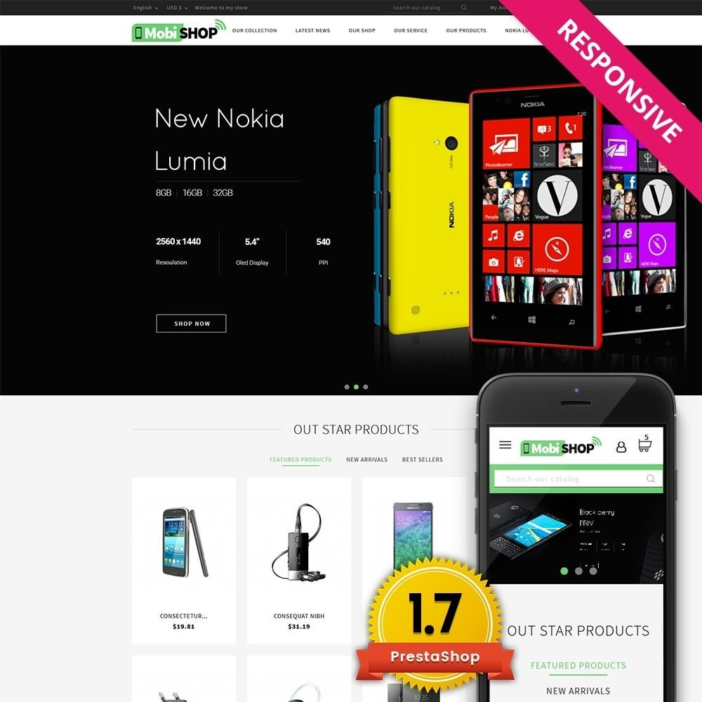 theme - Шаблоны PrestaShop - Mobishop Onestop Mobile Store - 1