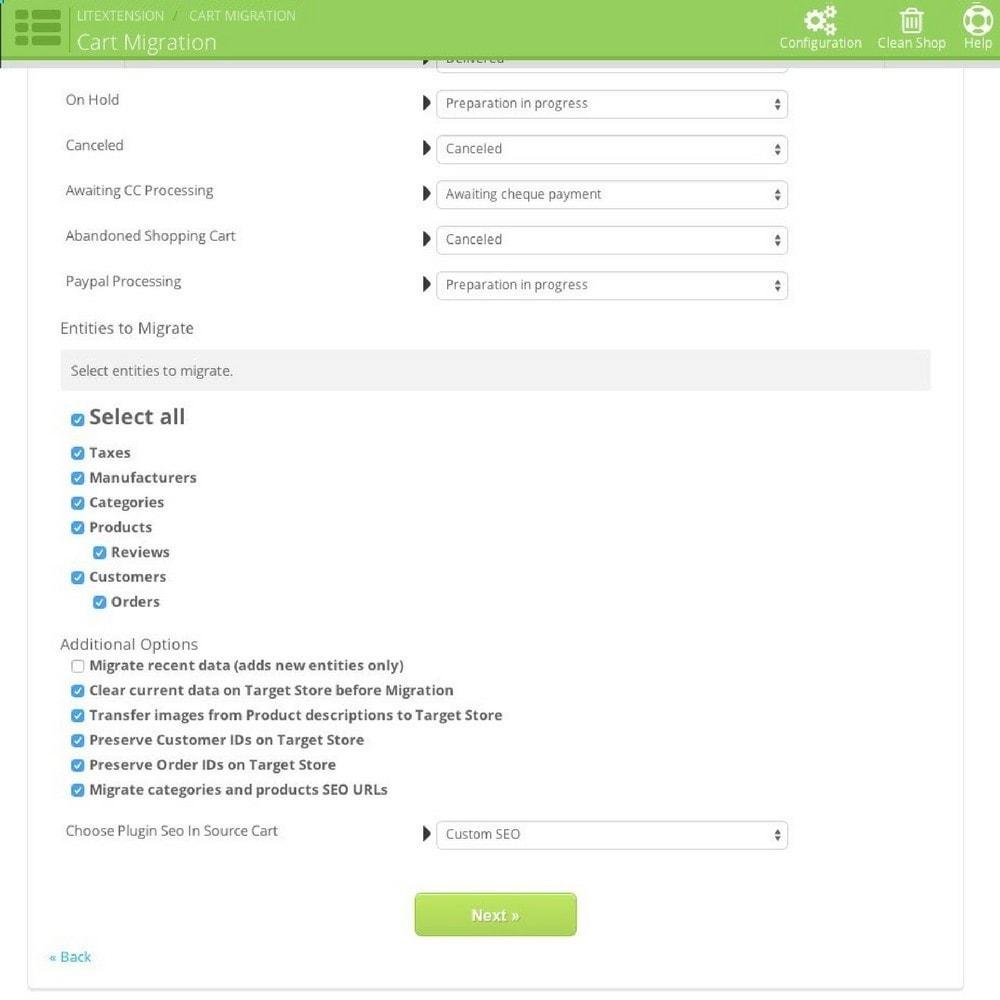 module - Migración y Copias de seguridad - LitExtension: osCommerce to Prestashop Migration - 4