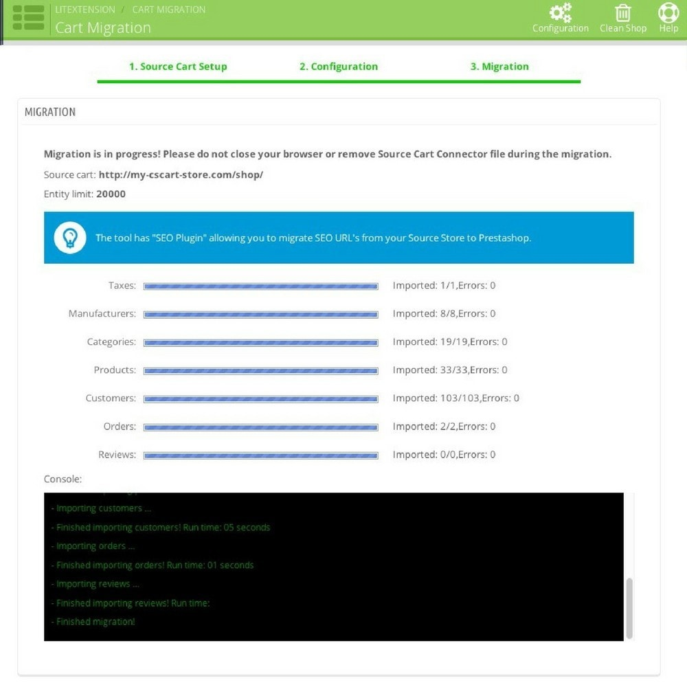 module - Migration de Données & Sauvegarde - LitExtension: nopCommerce to Prestashop Migration - 5