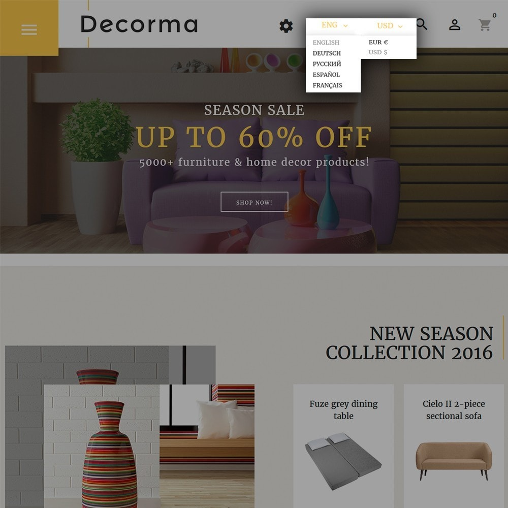theme - Искусство и Культура - Decorma -  шаблон по продаже мебели - 6