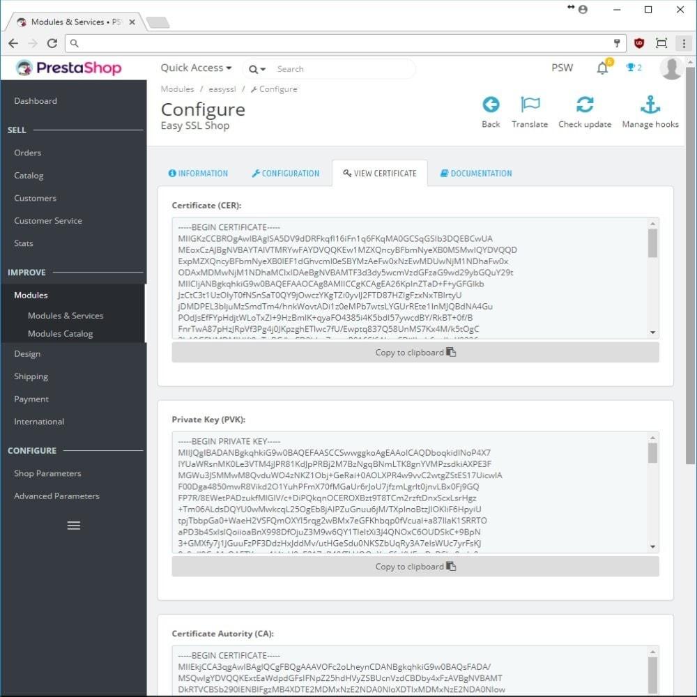 module - Безопасности и доступа - EasySSL Shop, LetsEncrypt Certificates - 3