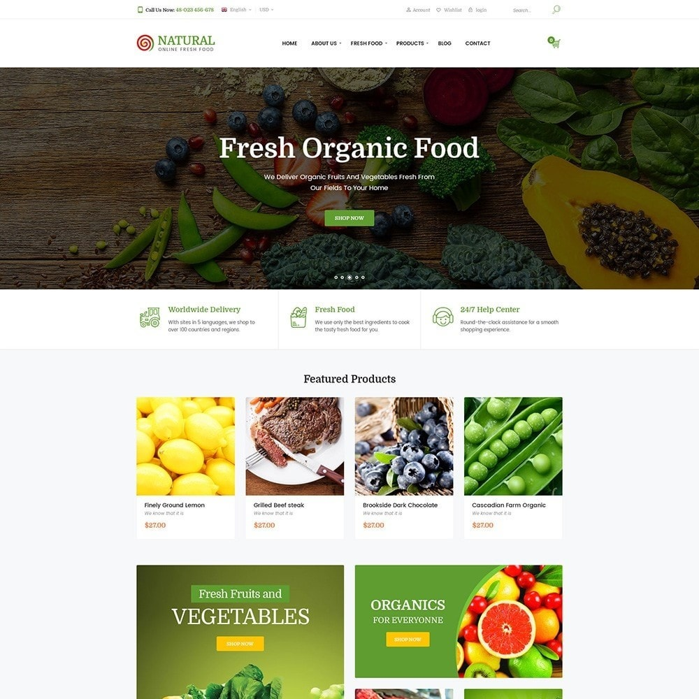 theme - Alimentation & Restauration - Pts Natural – Fresh Organic Food - 2