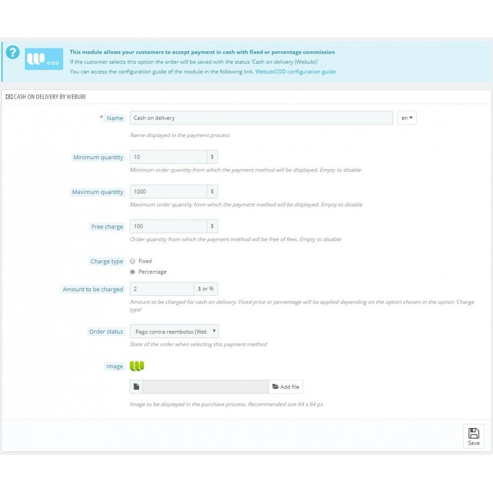 module - Pago a la Entrega (contrarrembolso) - Pago contra reembolso con comisión por Webubi - 2