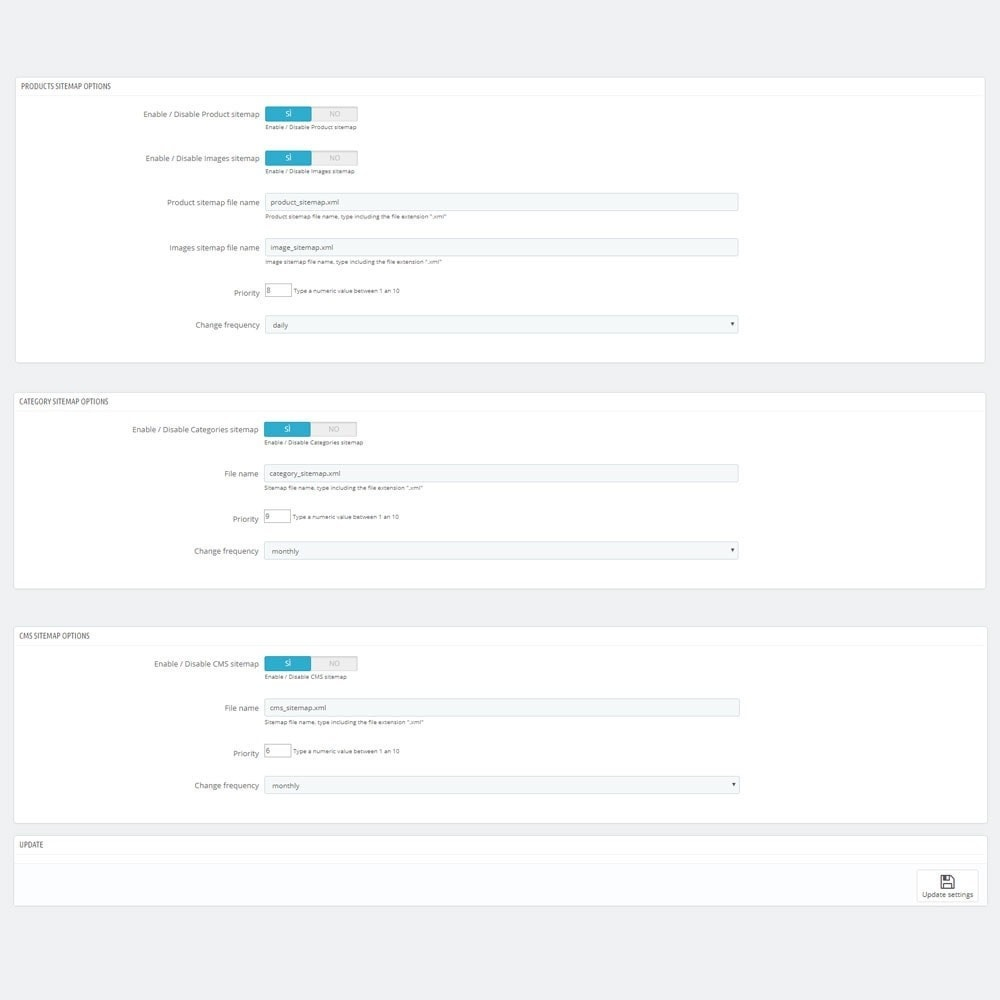 module - SEO (Referenciamento natural) - AW XML Sitemap Generator - 3