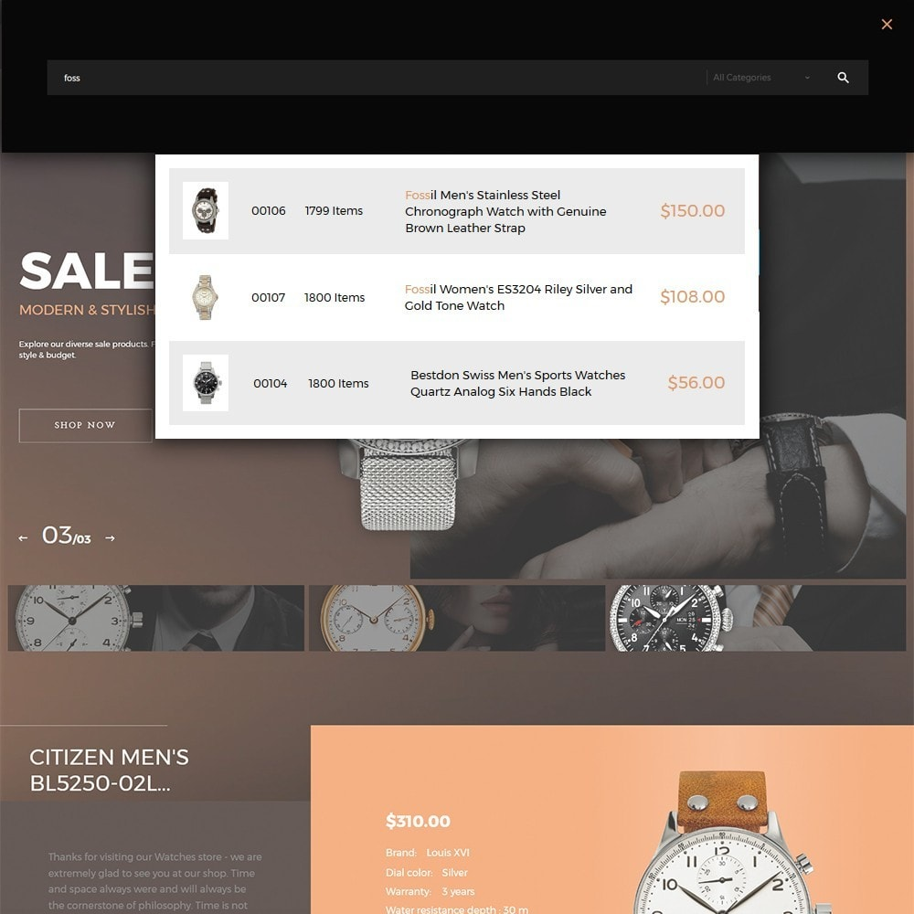 theme - Moda & Calzature - Watchelli - per Un Sito di Orologi - 5