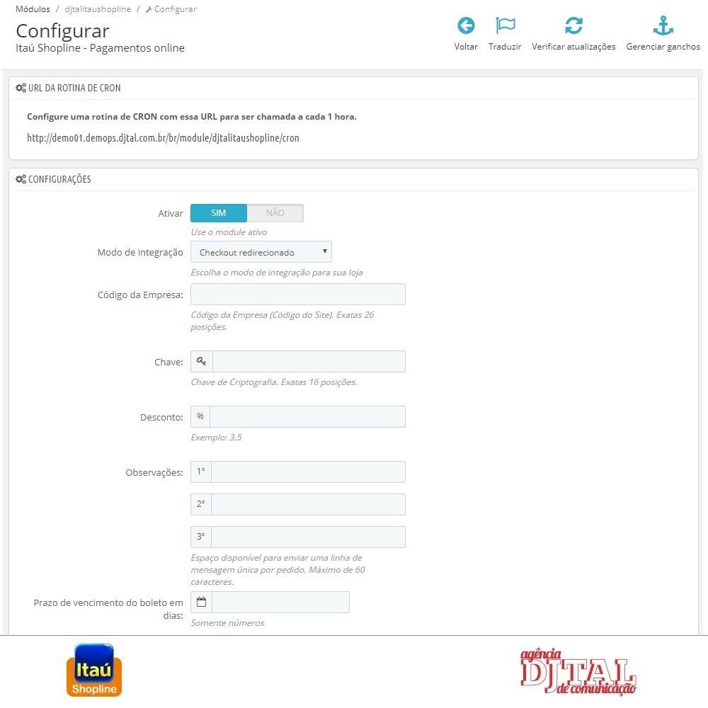 module - Pagamento por cartão ou por carteira - Pagamento por Itau Shopline - 2