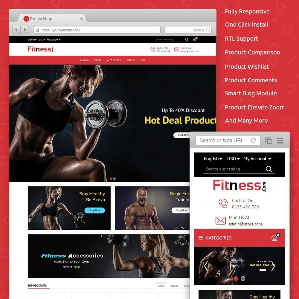 theme - Deportes, Actividades y Viajes - Fitness Store - 1