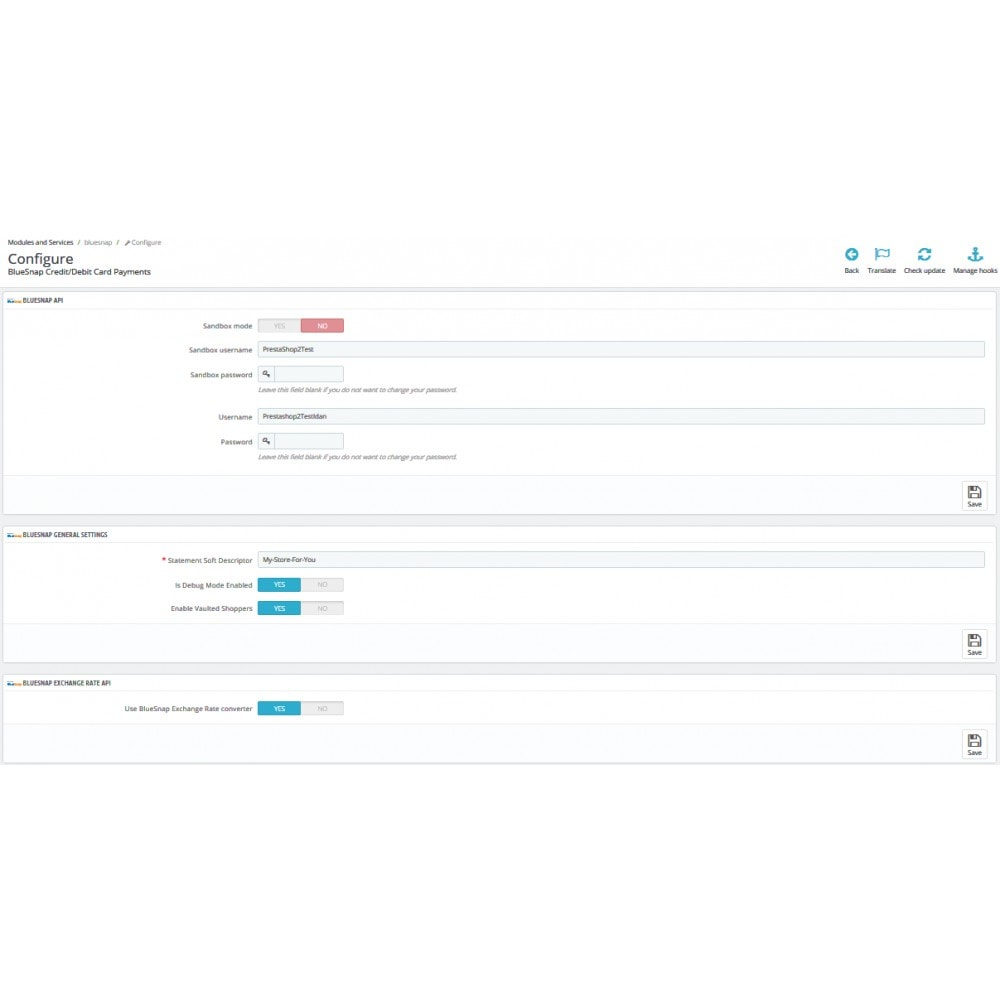 module - Płatność kartą lub Płatność Wallet - BlueSnap - 2