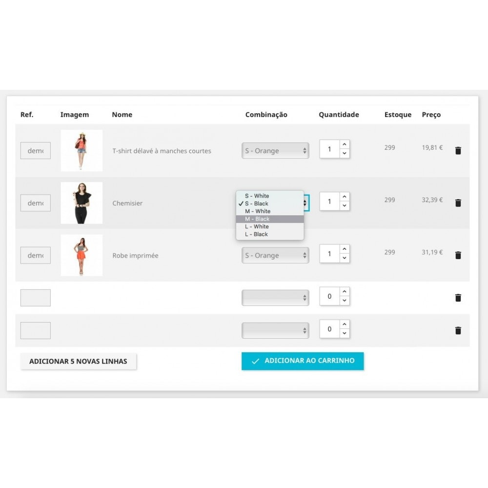module - Processo de pedido - Formulário de ordem rápida - 1