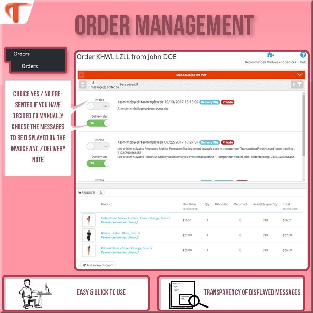 module - Contabilidade & Cobrança - Display Message(s) on  Invoice or/and Delivery Slip - 3
