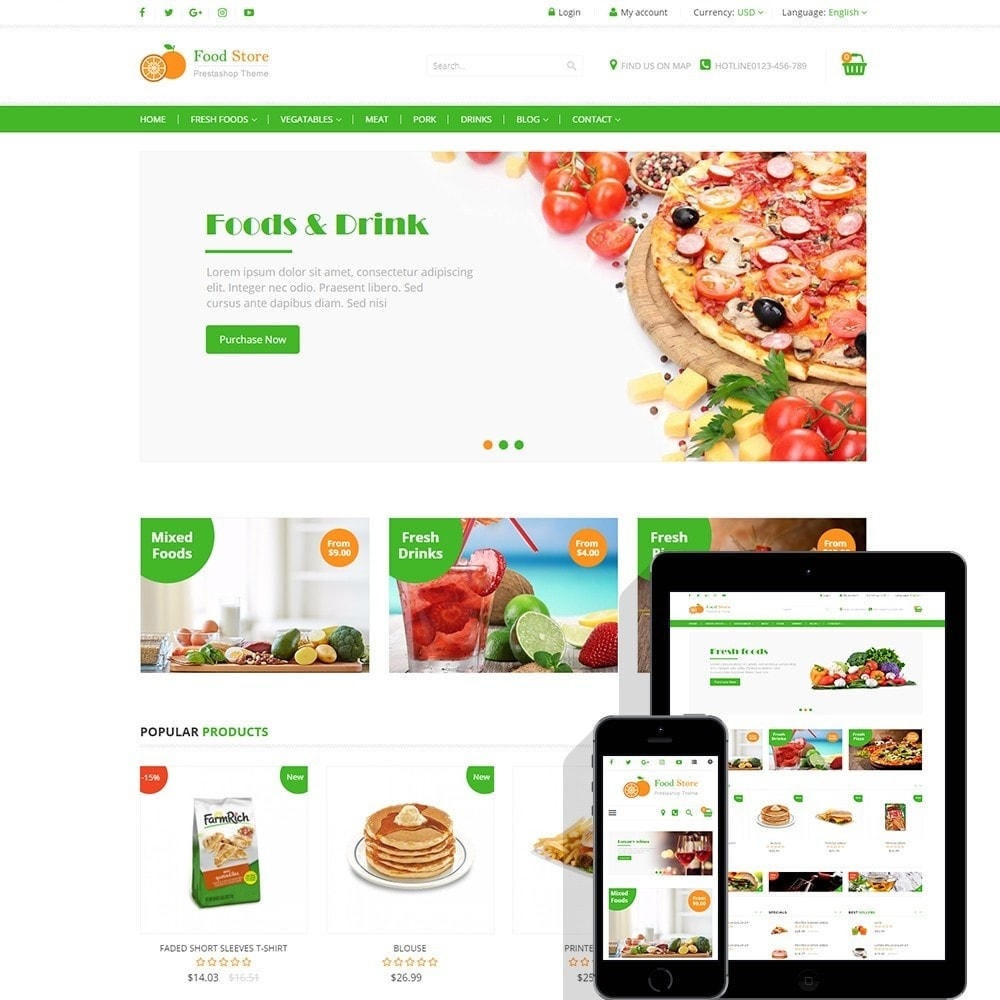 theme - Food & Restaurant - Food store - Fresh foods,  drinks and fruit store - 1
