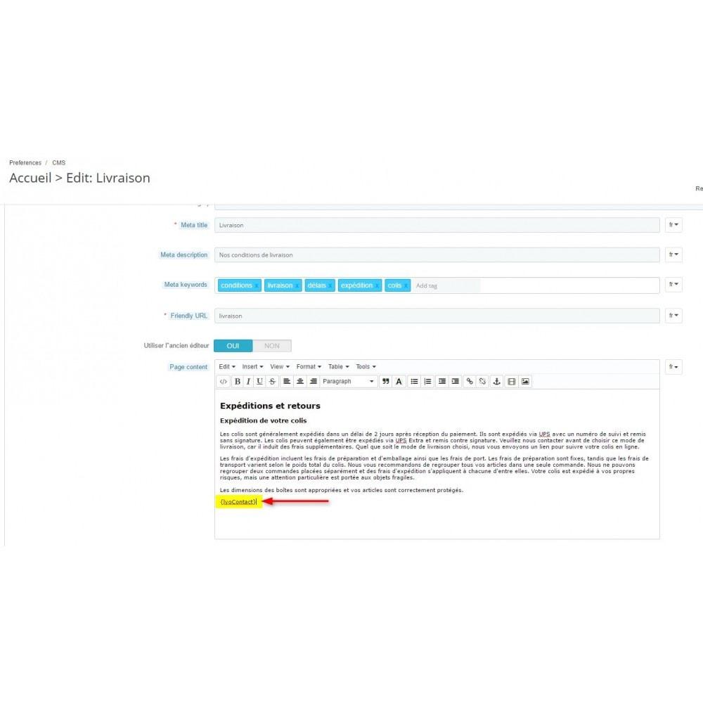 module - Personnalisation de Page - Module Afficher la rubrique contact où vous voulez - 2