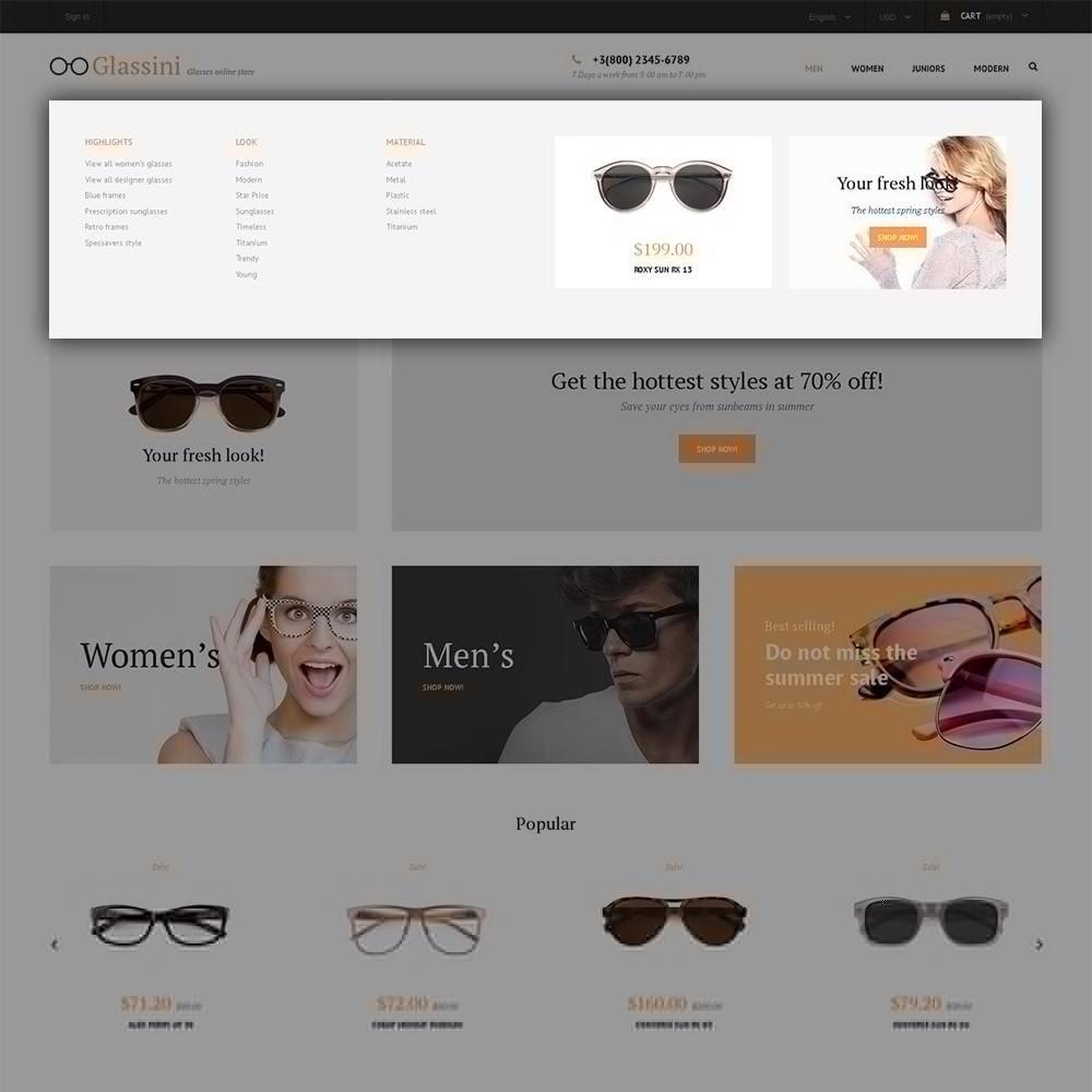 theme - Moda y Calzado - Glassini - para Sitio de Gafas - 7