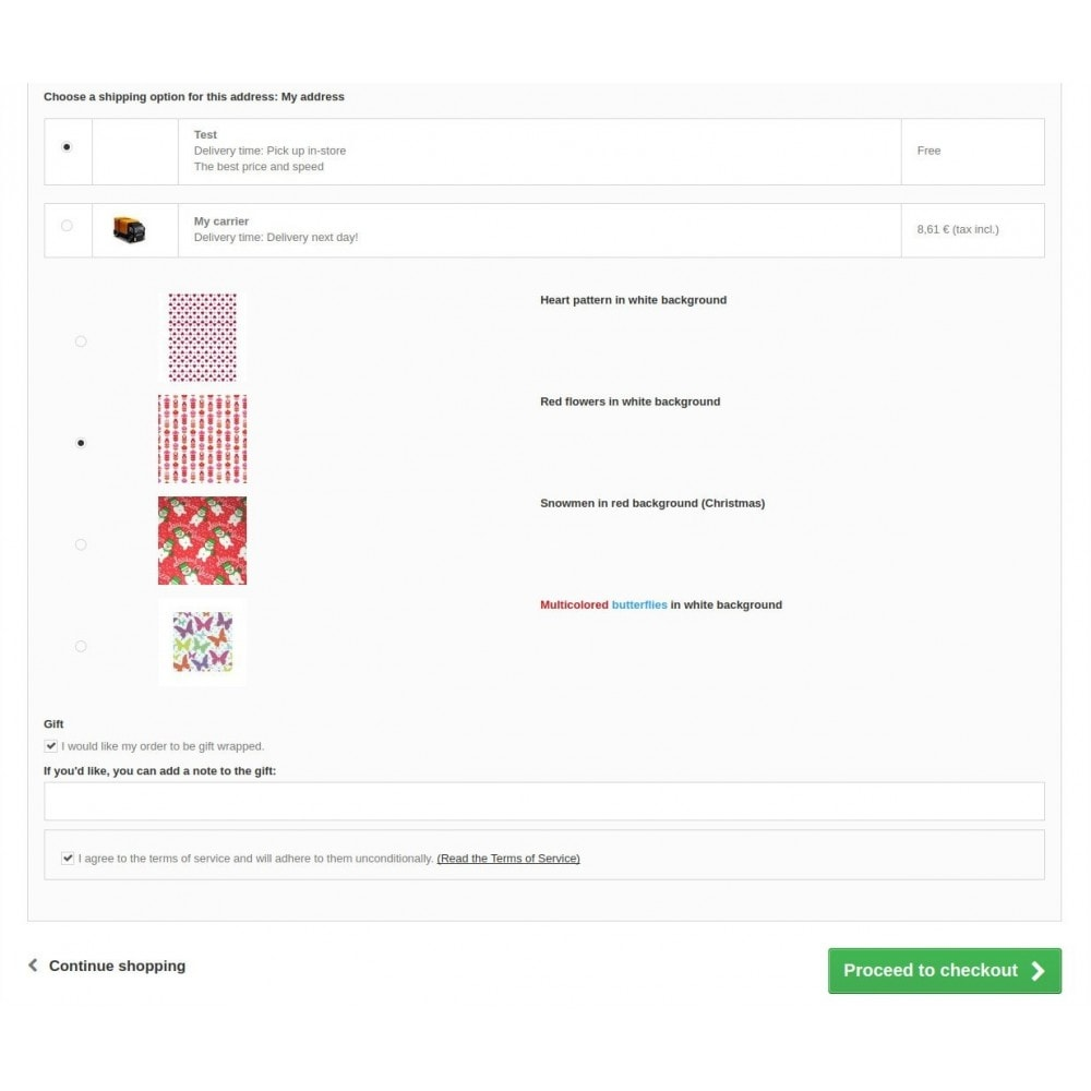 module - Registration & Ordering Process - Gift Wrapping Select - 3