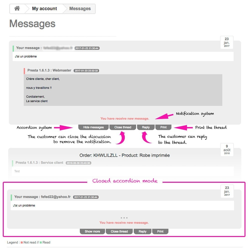 module - Serwis posprzedażowy - Display thread and messages in user account - 2
