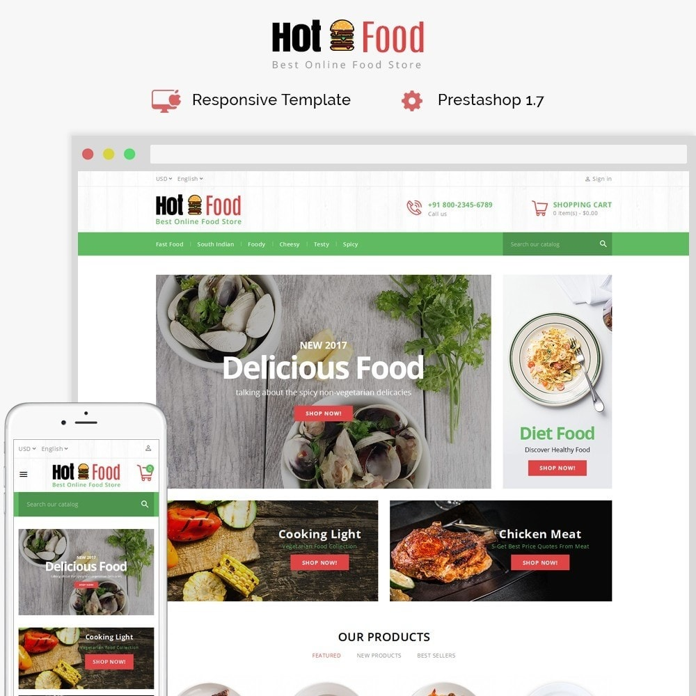 theme - Food & Restaurant - Hotfood Demo Store - 1