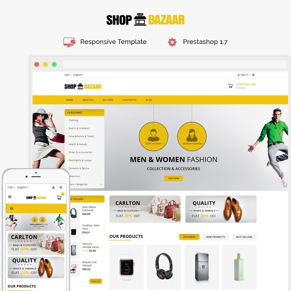 theme - Авто и Мото - ShopBazar Mega Store V4 - 1