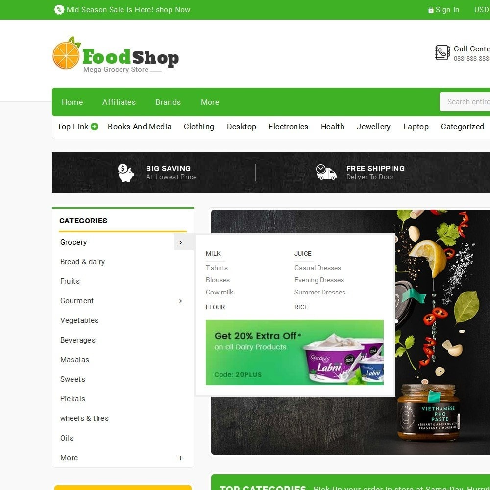 theme - Alimentation & Restauration - Grocery Food Mega Store - 9