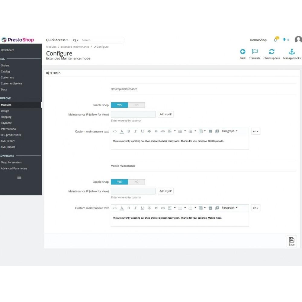module - Page Customization - Extended Maintenance mode - 1