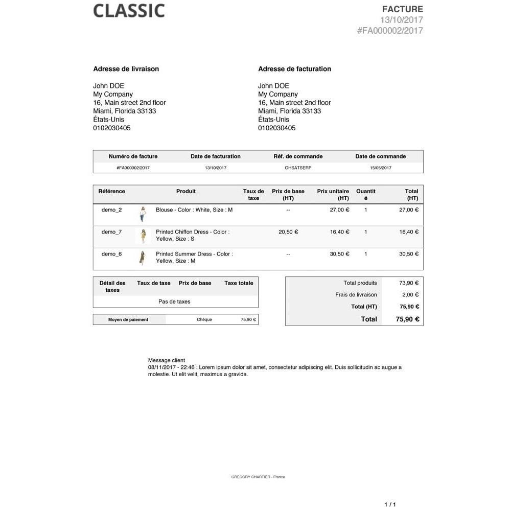 module - Gestion des Commandes - Messages client sur facture et/ou bon de livraison - 3