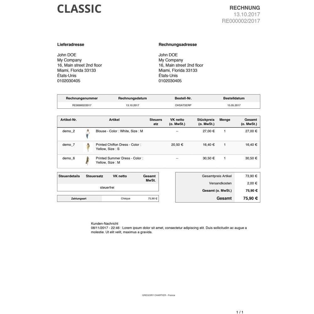 module - Auftragsabwicklung - Kundenmitteilungen zu Rechnungen / Lieferscheinen - 3