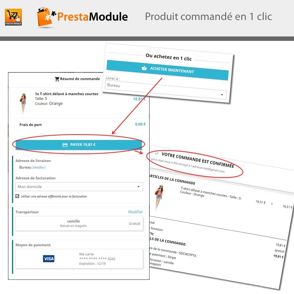 module - Paiement par Carte ou Wallet - One Click Order - Achat en un clic - 1