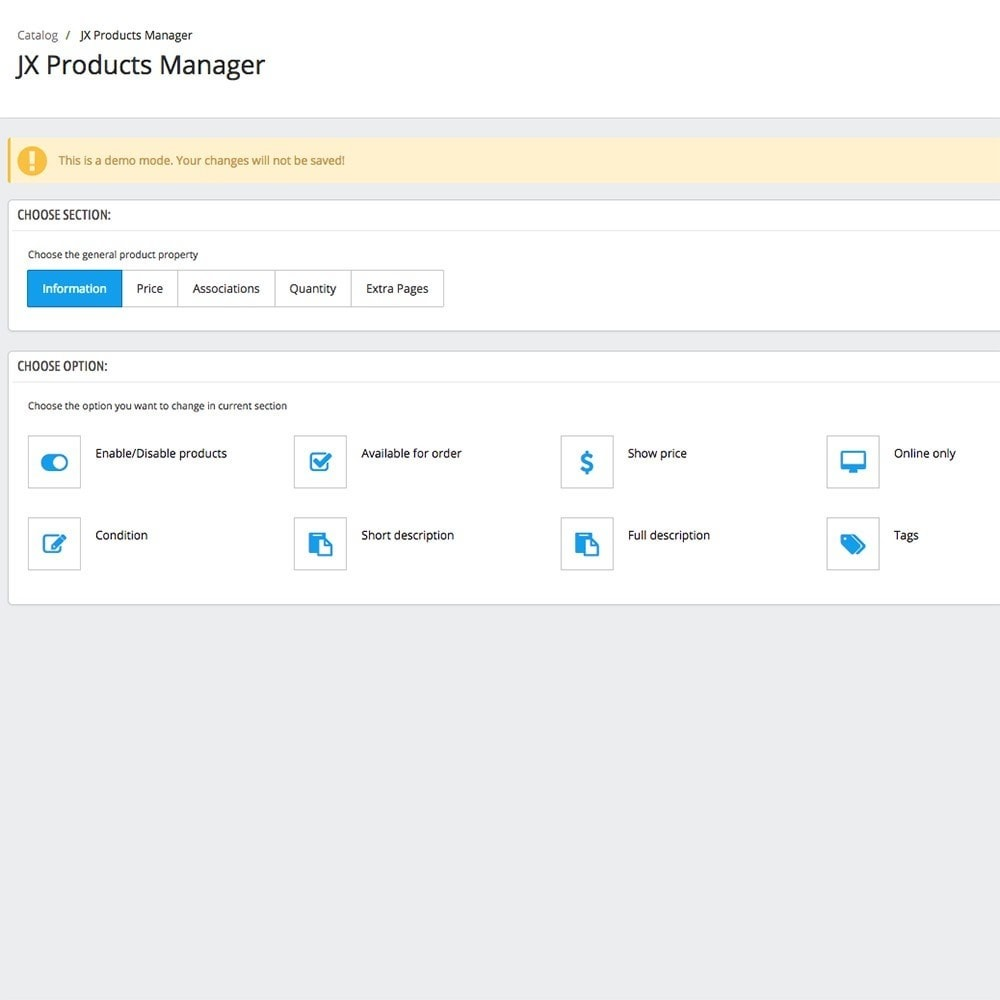 module - Fast & Mass Update - JX Products Manager - 5