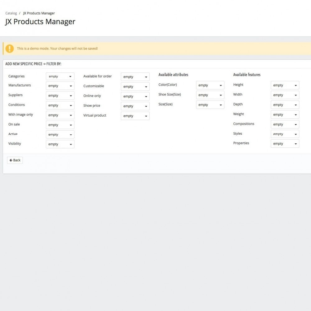 module - Fast & Mass Update - JX Products Manager - 6