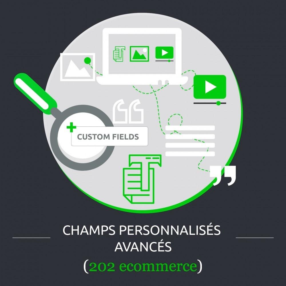 module - Information supplémentaire & Onglet produit - Champs personnalisés avancés : créer de nouveaux champs - 1