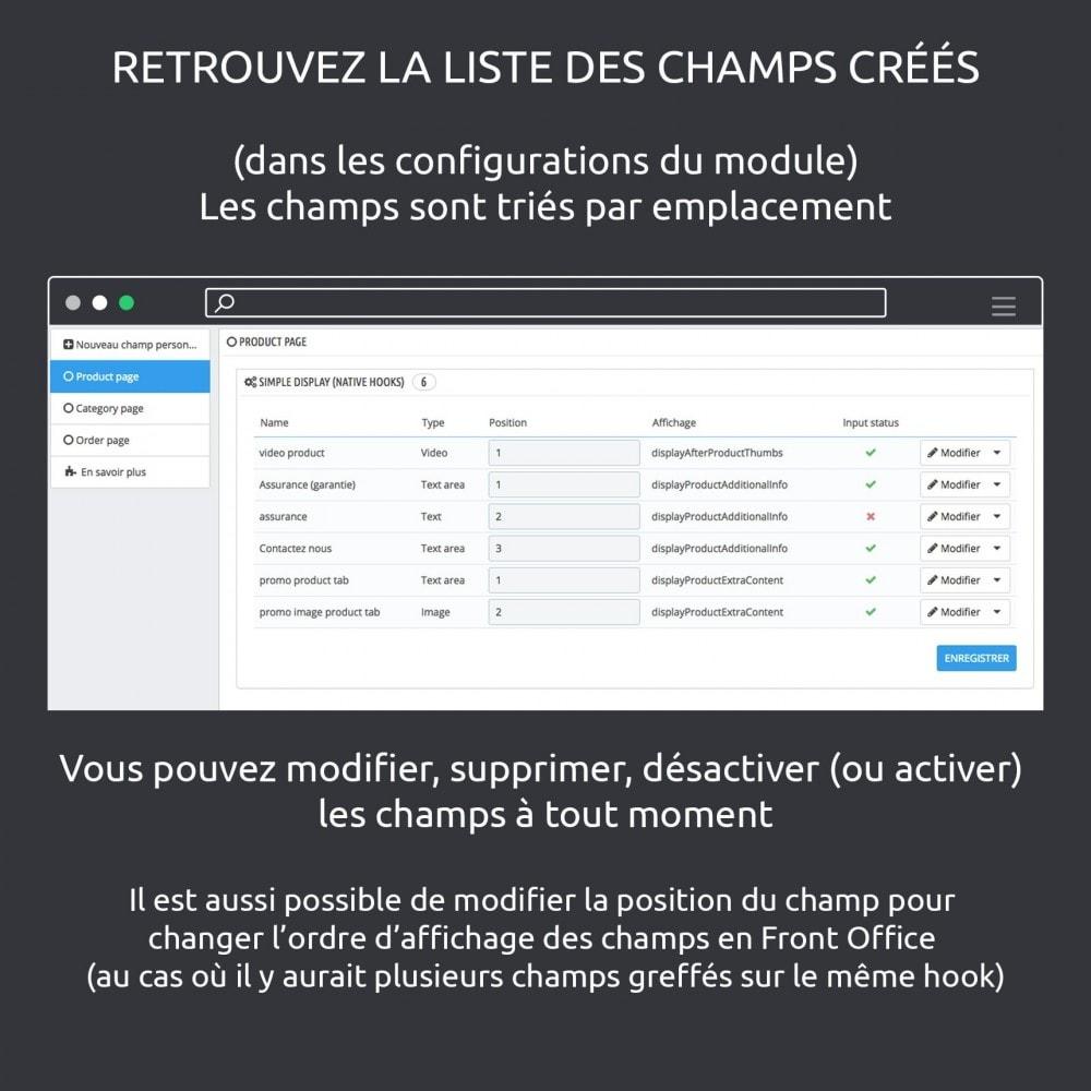 module - Information supplémentaire & Onglet produit - Champs personnalisés avancés : créer de nouveaux champs - 14