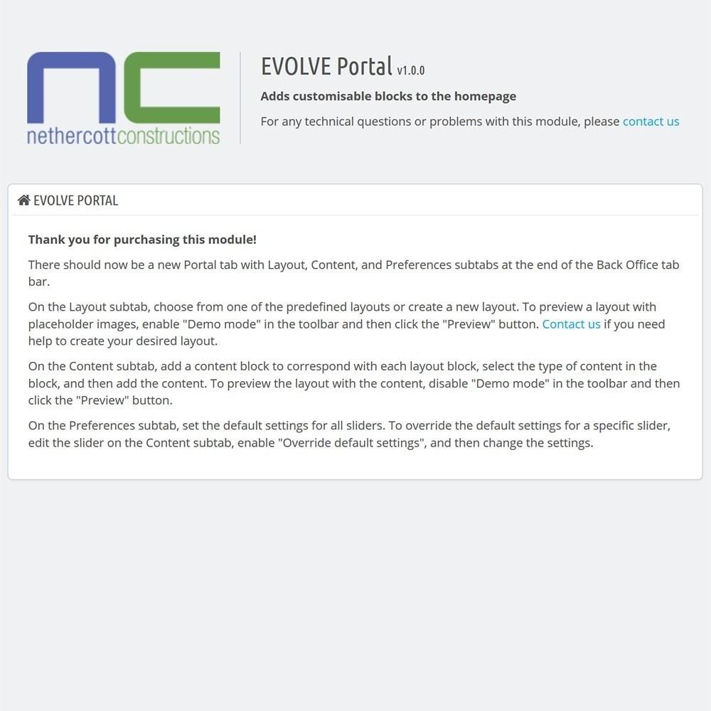 module - Personalización de la página - EVOLVE Portal - 4