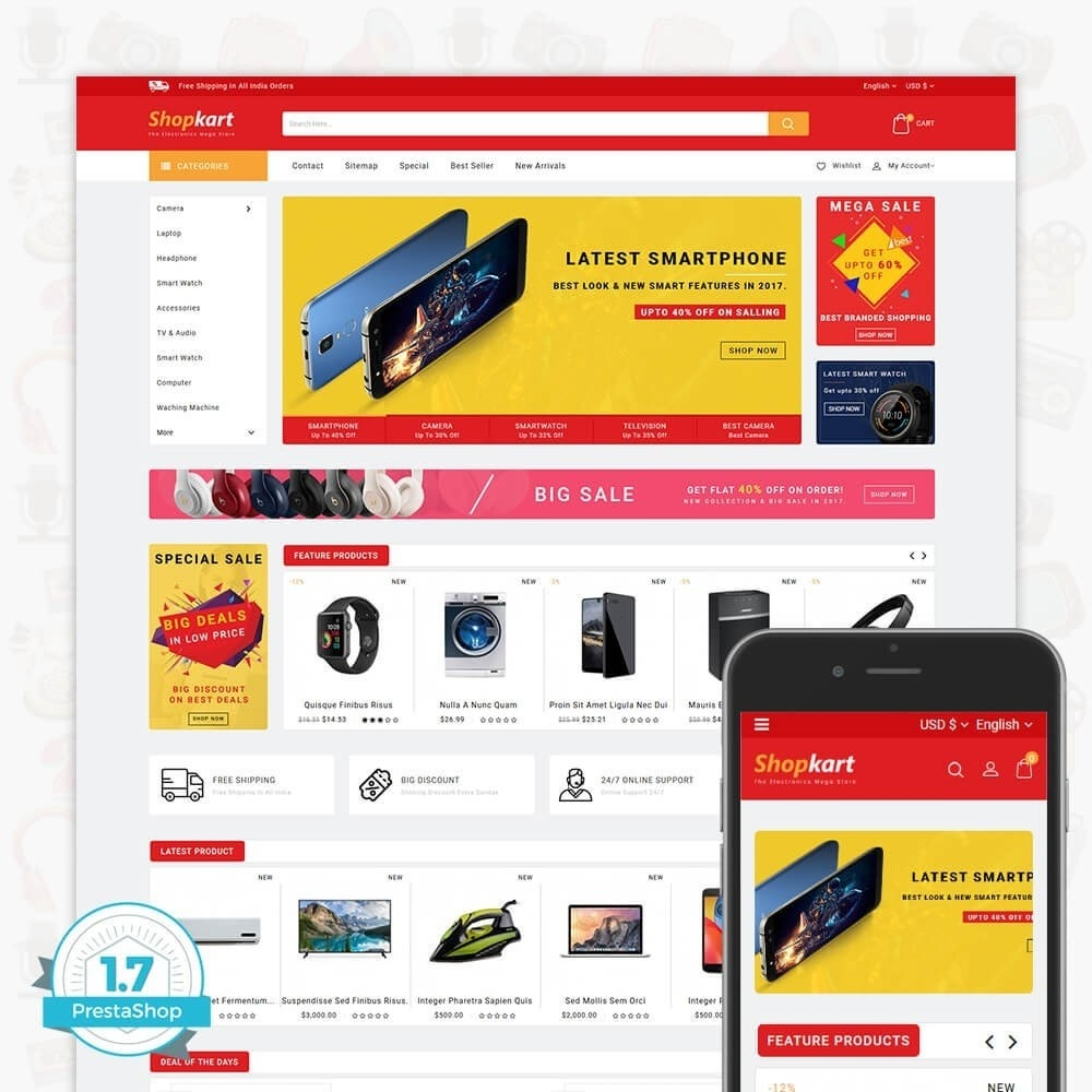 theme - Электроника и компьютеры - ShopKart - The Electronics Store - 1