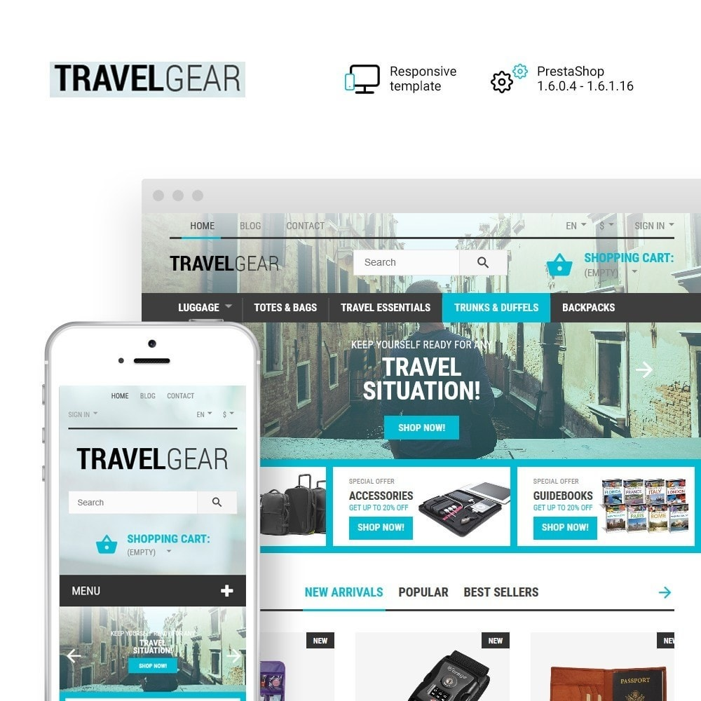 theme - Desporto, Actividades & Viagens - Travel Gear - Travel Store Template - 1