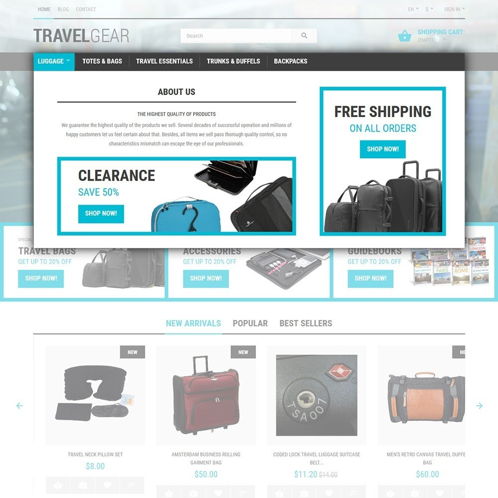 theme - Desporto, Actividades & Viagens - Travel Gear - Travel Store Template - 4